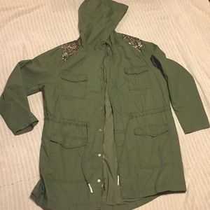 Jackets & Blazers - Sequin shoulder hooded jacket
